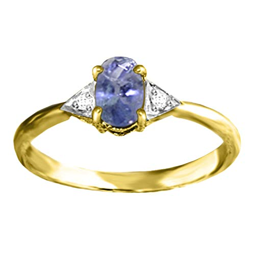 14k Solid Yellow Gold Ring with Diamonds and Tanzanite - Size 7.0