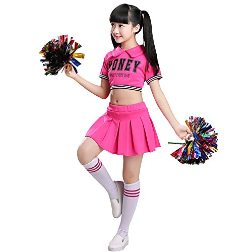 Jojobaby Little Girls' 2 Piece Cheerleading Outfit Uniform Costume Complete Outfit Cosplay With Socks (5-6Years, Rose)