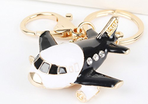 Black Enamel AIRPLANE Key Chain is Embellished in Clear Crystal Rhinestones.Gold Ring & Hook.Perfect Gift for a Frequent Flyer,Pilot,Stewardess, or Travel Enthusiast!