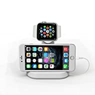 Voguecase® pour Apple Watch Stand & Support iPhone, Premium [2 en 1] Apple Watch l'iPhone Charge Station/Station d'accueil/Support/Dock/Stand Holder pour Apple iWatch 38mm / 42mm, confortable Angle de visualisation de charge Stand pour iPhone 6, iPhone 6 Plus(Chargeur non compris)-Blanc.