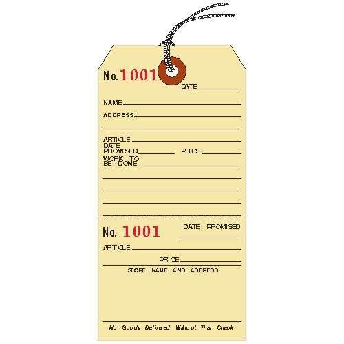 Repair Tags, 5-1/4'' x 2-5/8'', Manila Cardstock with Stub, Strung, Consecutively Numbered, PACK OF 100