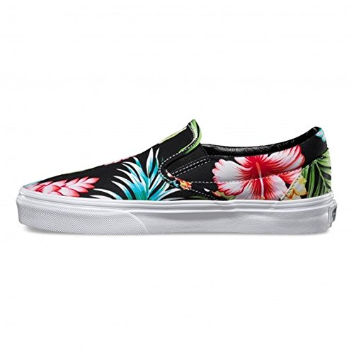 Vans Classic Slip-On Hawaiian Floral Black Skateboarding Shoe (Men 3.5/ Women 5)