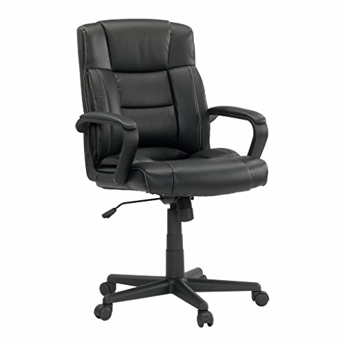 Sauder 414345 Chair Leather Managers, Black - Chair Sauder Office Furniture