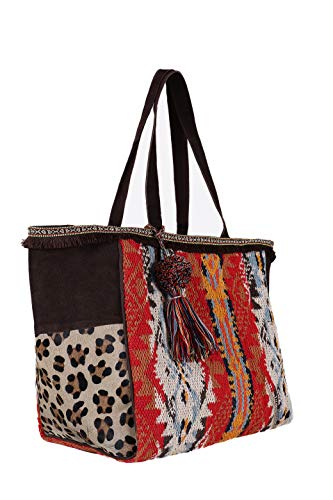 Collection multicolore a tote 56x32x26cm Multicolor The in spalla Extreme italy donna borsa etnico shopper made 0q65t