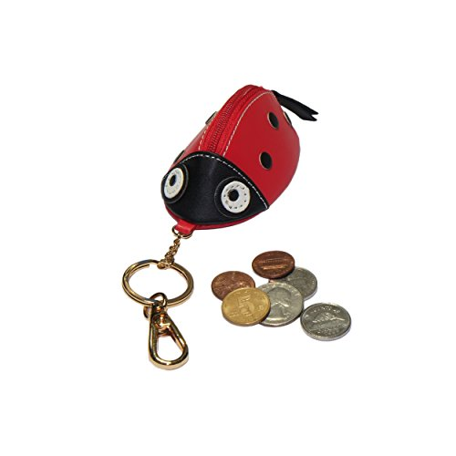 Animal Zipped Coin Purse with Keychain (Red -