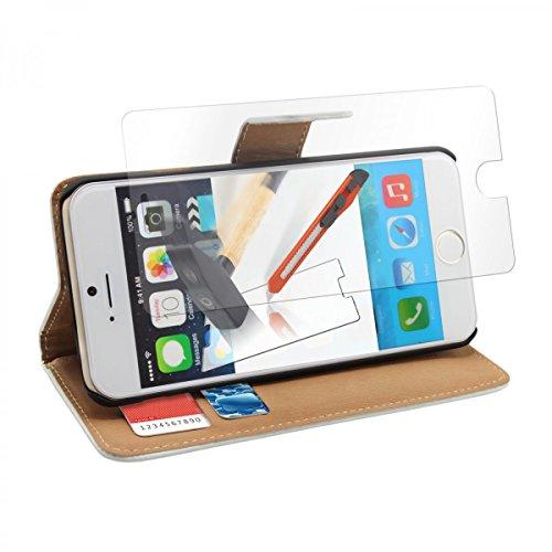 Poche en similicuir pour Apple iPhone 6 Hülle Case Cover Étui Wallet Coque en similicuir accessoires blanc