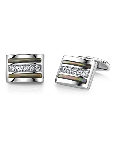 - Sterling Silver Black Mother of Pearl and Crystal Banded Cufflinks