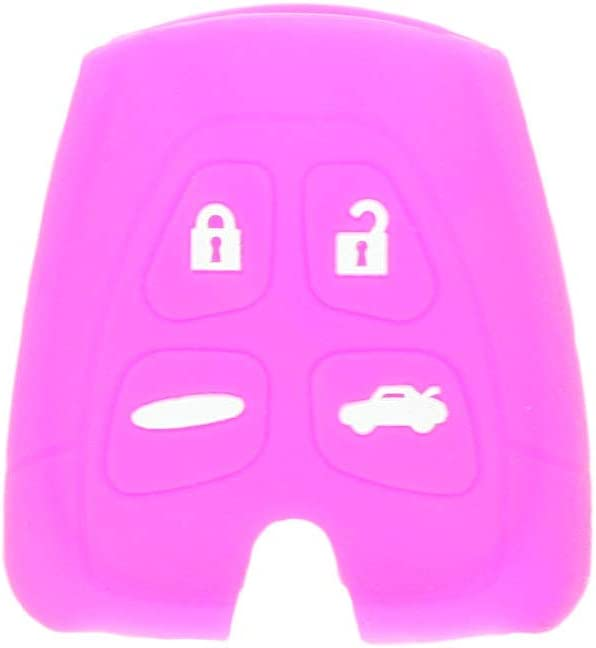 SEGADEN Silicone Cover Protector Case Holder Skin Jacket Compatible with SAAB 9-3 9-5 4 Button Remote Key Fob CV2760 Purple