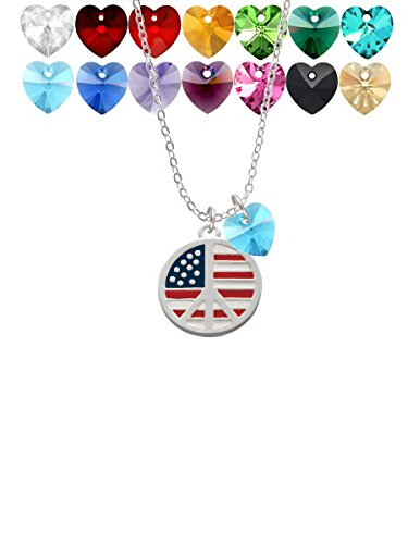 Necklace Sign Peace Heart (Large Peace Sign with USA Flag Custom Crystal Heart Sophia Necklace, 18