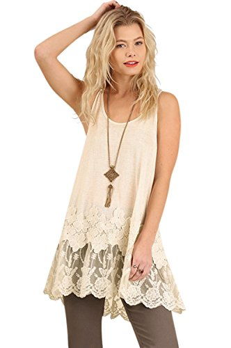 Hippie Tunic Blouse - Umgee USA Embroidered Lace Sleeveless Long Tunic Tank Top Boho Hippie Gypsy (Medium, Cream)