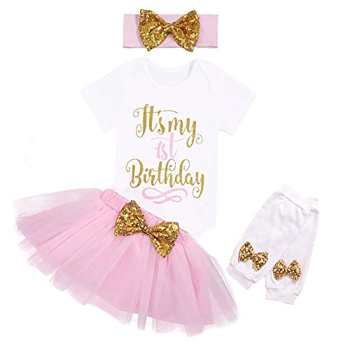 - Newborn Baby Girl My First Birthday Clothes Short Sleeve Romper Pink Tutu Skirt Sequin Bow Headband with Leg Warmer 4Pcs Dresses Outfit Sets 12 Months