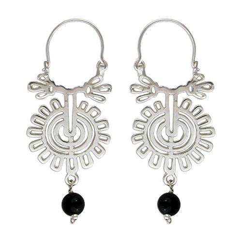 NOVICA Onyx .925 Sterling Silver Hoop Earrings 'Xico Flower'