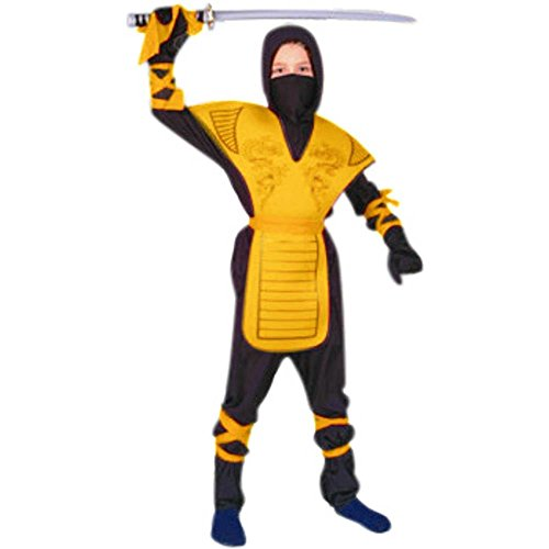 Ninja Master Costumes (RG Costumes 90005-Y-L Dragon Ninja Master - Yellow Costume - Size Child-Large)