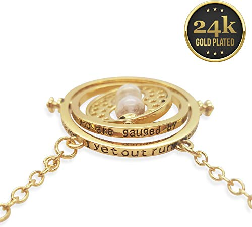 KalematStore 24k Gold Plated Necklace for Time Turner Fans, Gold Glass Hour Sand in a Branded Red Velvet Pouch and Gift ()