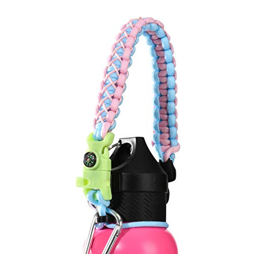 QeeLink Paracord Hande Compatible with Hydro Flask Standard Mouth Water Bottle Carrier with Safety Ring Holder | Simple Modern Ascent Water Bottle Strap - 12 oz, 18oz, 21 oz, 24 oz (Glow Pink)]()