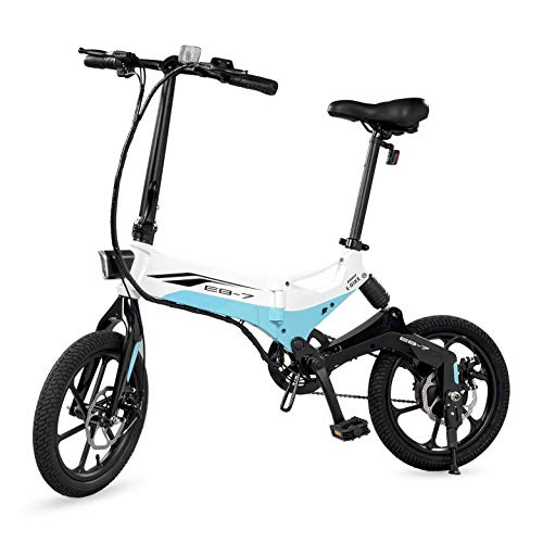 (Swagtron Swagcycle EB-7 Elite Folding Electric Bike, 16-Inch Wheels, Swappable Battery with Keylock & Rear Suspension (White))