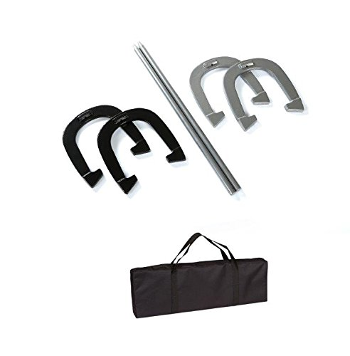 Trademark Innovations Premium Reinforced Carbon Steel Horseshoe Set with Carry Bag (Black and Gray)