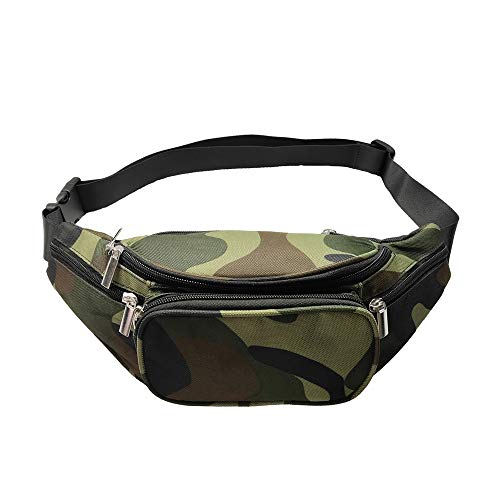 Camo Fanny Pack, 5 Pockets Women Men Adjustable Belt Large Capacity Camouflage Waist Bag Packs Travel Chest Shoulder Bag Phone Running Hiking Belt Bag (Camouflage)