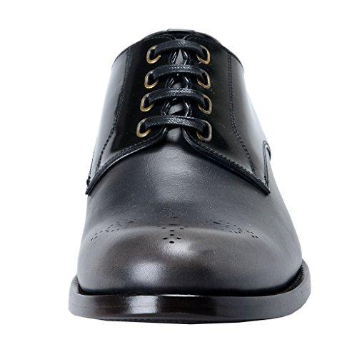 Dolce & Gabbana Hombres Negro Y Gris Zapatos De Cuero Derby Oxfords Negro / Gris