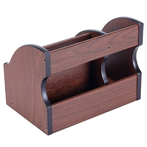 5 Compartment Wood Desktop Office Supply Organizer / Mail Holder Rack with Storage Drawer by MyGift (Image #5)