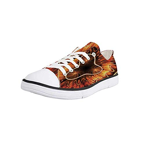 - Canvas Sneaker Low Top Shoes,Fractal,Abstract Electromagnetic Waves Textured Dynamic Effects Artful Graphic Image Women 5