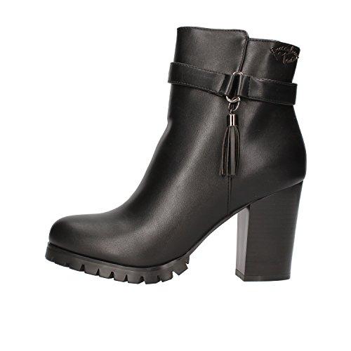 BRACCIALINI Ankle Boots Woman Black Leather AF382 (7 US / 37 EU)