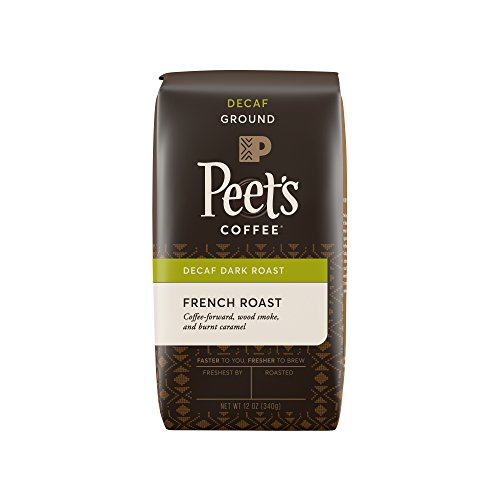 Peet's Coffee, Decaf French Roast, Dark Roast, Ground Coffee, 12 oz. Bag, Decaffeinated Coffee, Bold, Intense & Complex Dark Roast Blend of Latin American Coffees, with a Smoky Flavor & Bite Ground Decaffeinated Coffee