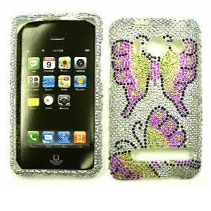 tal Diamond / Rhinestone / Bling Two Butterflies on White HARD PROTECTOR COVER CASE / SNAP ON PERFECT FIT CASE (Htc Evo 4g Crystal)
