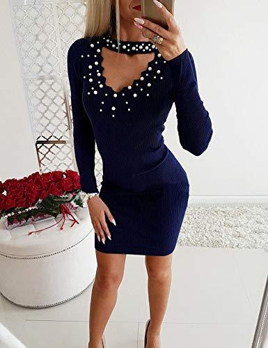 Femme Longues Avec Col Rond Boutons Fermé Automne Des Maille Manches Robe En Frecoccialo Sexy Fine Bleu Sculptante À j534ARL