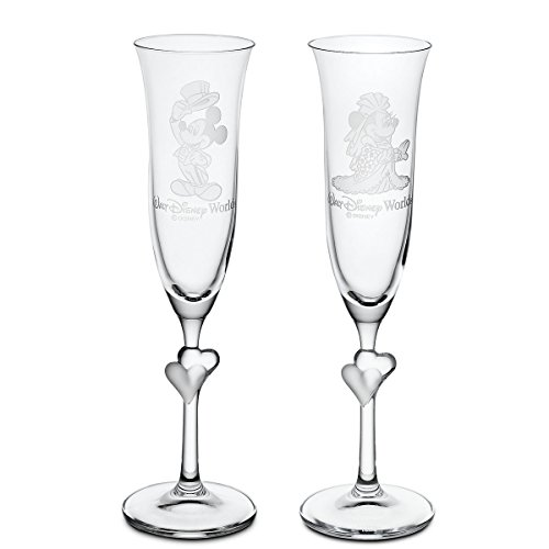 Minnie and Mickey Mouse Wedding Glass Flute Set by Arribas - Personalizable