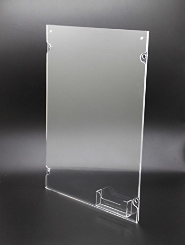 FixtureDisplays 11 x 17 Acrylic Sign Holder for Wall, Business Card Pocket, Silver Standoffs - Clear (Schedule Business Card Magnets)