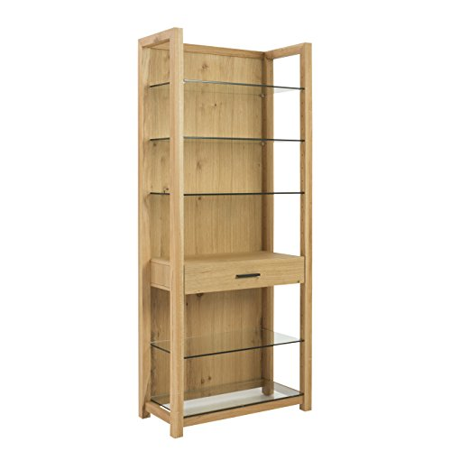 Shelf Oak Glass - Eurø Style Ballard Wood Bookcase with Glass Shelves and Drawer, Oak Finish