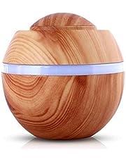 Yolandabecool Humidificateur ultrasonique d'aromathérapie, diffuseur d'huile Essentielle, 7 Couleurs LED, Sûr et Élégant, Purifier l'air et Améliorer l'air Sec (Grain de Bois Léger)