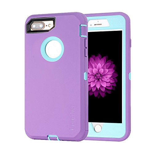 Lordther 5.5-Inch iPhone 8 Plus Case, ShieldOn Series [Military Grade] [Heavy Duty] Synthetic Rubber TPU Case Covers with [Bonus Screen Protector] for iPhone 7 Plus&iPhone 8 Plus (Purple/Blue)