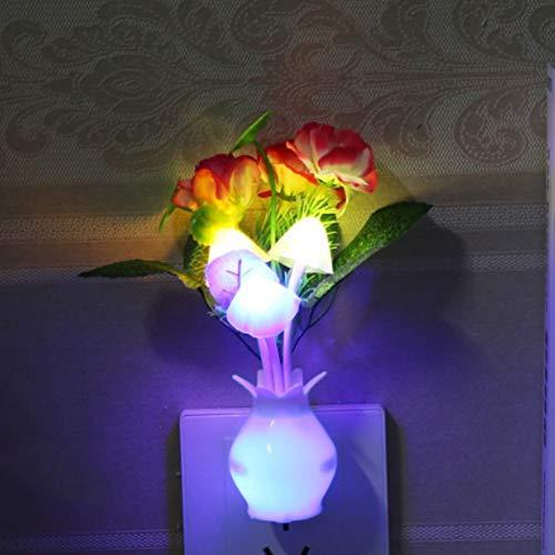 (Smartcoco LED Mushroom Plum Flower Vase Night Light Auto Light Sensor Wall Socket Lamp Decoration for Nursery Home Bedroom (US Plug))