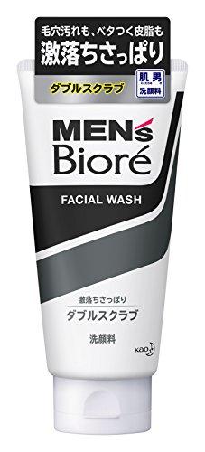 Bioré Men's Kao Double Scrub Face Wash, 130 g