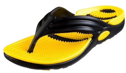 Bertelli New Mens Thong Beach Sandal Slippers in 4 Bright Fun Colors And Bi-layered Sole (9, Black/Yellow)
