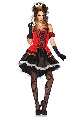 Leg Avenue Women's Royally Sexy Queen Costume, Red/Black, Medium (Sexy Black Halloween Costumes)