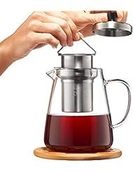 Glass Teapot with Infuser - Loose Leaf Tea Pot 32oz - Stovetop Safe Clear Tea Maker - Tea Pot Strainer for Blooming, Flowering, Loose tea - Sleeve for Warmer Tea, Coaster & E-Book