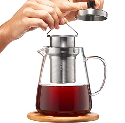 Glass Teapot Kettle with Infuser - Loose Leaf Tea Pot 32oz - Stovetop Safe Clear Tea Maker - Tea Pot Strainer for Blooming, Flowering, Loose tea - Sleeve for Warmer - Loose Tea Leaf Brewer
