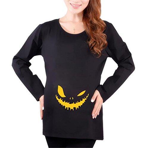 Bluse Black4 Top SUNVOOL Maglietta Forti Taglie Gravidanza Donna Collo Lunga prémaman Manica T Fantasia Femminili Rotondo Top Shirt Stampate BdU7qw