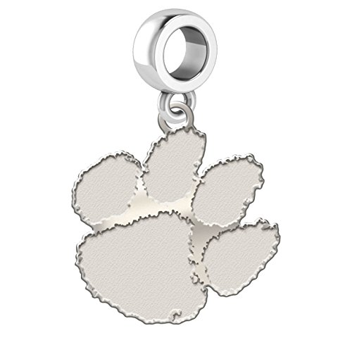 Clemson Tigers Sterling Silver Logo Dangle Charm Fits All European Style Charm ()