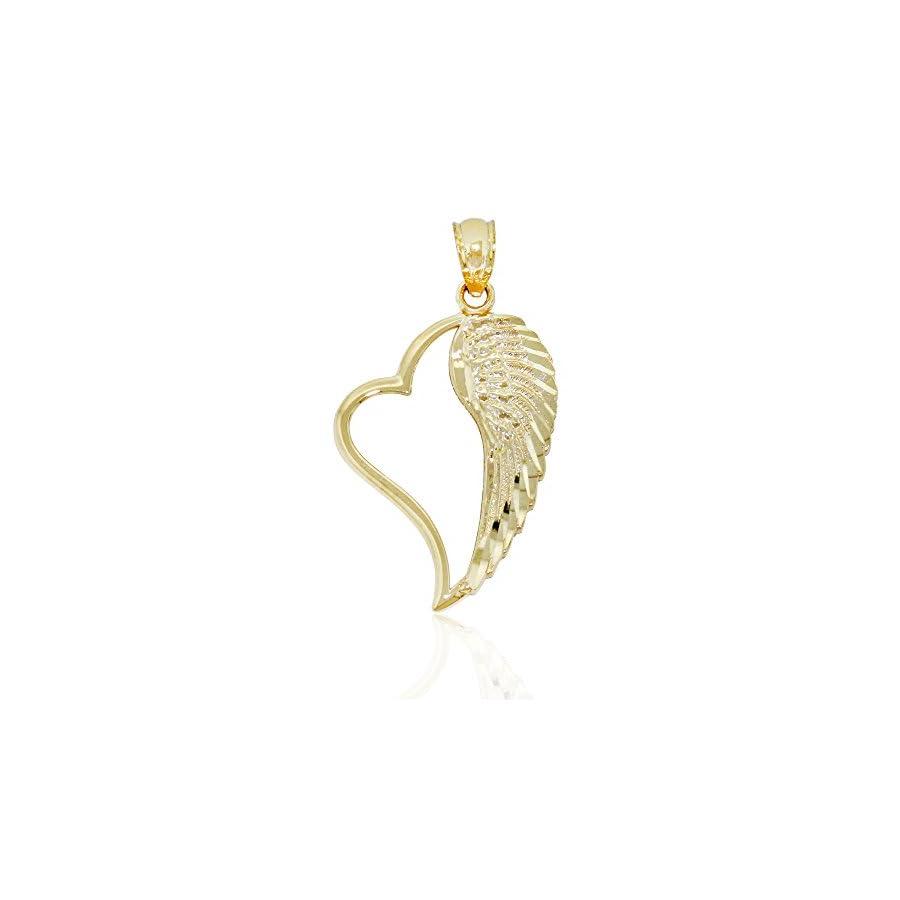 Charm America Gold Angel Wing Inside Heart Charm 14 Karat Solid Gold