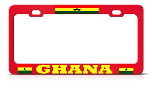 Ghanaian Flag Ghana RED Metal License Plate Frame Auto SUV Tag Holder Perfect for Men Women Car garadge Decor ()