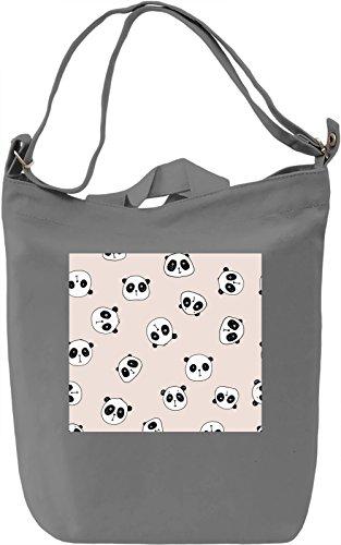 Pandas Print Borsa Giornaliera Canvas Canvas Day Bag| 100% Premium Cotton Canvas| DTG Printing|