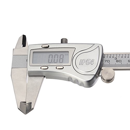Digital Caliper, LIUMY Professional 6''/150mm Electronic Digital Vernier Caliper with LCD Screen, IP54 Water Resistant and Inches and Metric Easy for Measurement Work silver white Photo #4