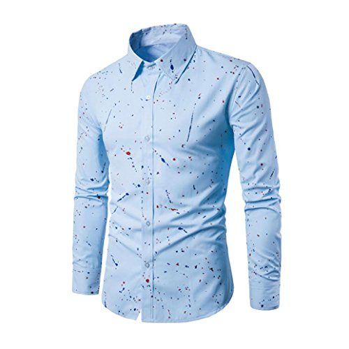 Mens Shirt,Han Shi Fashion Long Sleeve Printed Slim Fit Stylish Chemise Casual Blouse Tank Tops (XL, Blue) (Chemise Music)