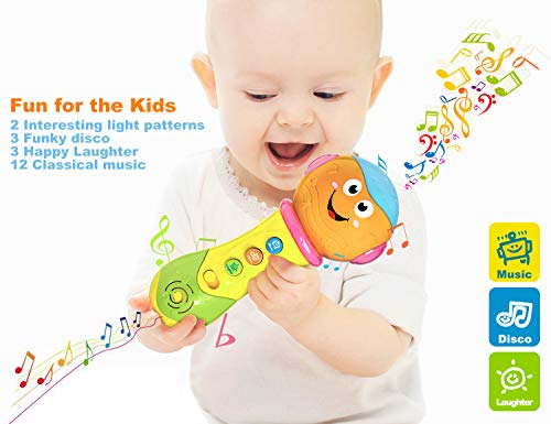 6 Month Baby Toys,Refasy Children Rattles Babies Musical LED Light Sounds Early Educational Development Best Gift Birth-24 Months Fun Playing Game Toys for Baby Infants Toddlers Boys Girls Kids Orange