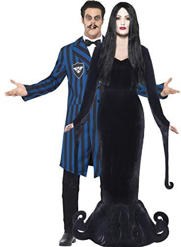 Couples Mens Ladies Morticia Gomez Morbid Duke Adams Family Halloween TV Film Costumes Outfit (Ladies UK 8-10 & Mens Large Black-Blue