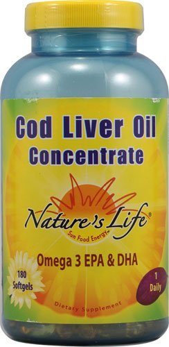 Nature's Life Cod Liver Oil Concentrate -- 180 Softgels - 3PC by Nature's Life